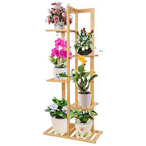 YANTI Bamboo Plant Stand Rack 5 Tier 6 Potted Indoor&Outdoor Multiple Stand Holder Shelf Rack Planter Display for Patio Garden, Living Room, Corner Balcony and Bedroom