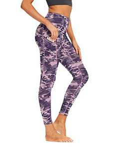oyioyiyo High Waisted Yoga Pants Tummy Control Athletic Workout Running Leggings with Pockets for Women(PY010-Pink Purple Camouflage-M)