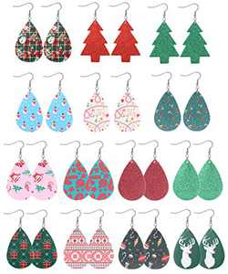 Sllaiss 14 Pairs Christmas Earrings Xmas Faux Leather Earrings Set for Women Elk Snowflake Santa Claus Belt Plaid Christmas Tree Teardrop Dangle Earrings Lightweight Holiday Jewelry (Red)