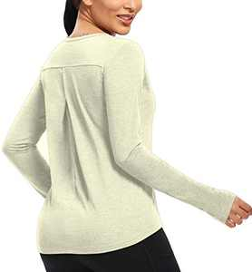 CUQY Womens Long Sleeve Workout Tops Yoga Running Gym Activewear T-Shirts with Thumb Holes (Light Gray, M)