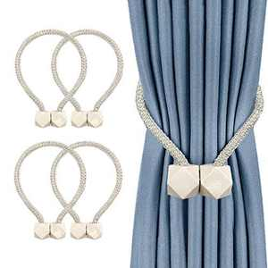 Curtain Tiebacks, 4 Pieces Magnetic Curtain Tie Backs, Convenient Curtain Tie Back, Decorative Curtain Clips Rope Holdbacks Holder for Small, Thin or Sheer Window Drapries(Beige)