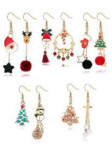 Sllaiss 5 Pairs Christmas Earrings Xmas Mismatched Asymmetrical Dangle Earrings Set Elk Santa Claus Candy Snowman Cross Snowflake Christmas Tree Earrings for Women Holiday Jewelry (Silver)