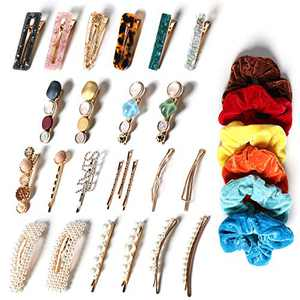 30 Pcs Hair Clips for Women , Handmade Pearl, Acrylic Resin Metal Hair Pins Barrettes for Thin or Thick Hair, Fasion Hair Styling Accessories