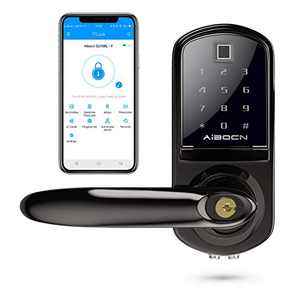 Aibocn Fingerprint Smart Lock, Biometric Keyless Entry Door Lock with Bluetooth, Touchscreen Keypad Deadbolt Lock with App Control, IC Card, Code, Easy to Install for Home Hotel Apartment, Left Handle