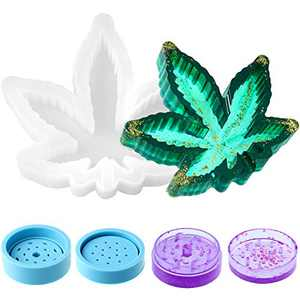 Maple Leaf Silicone Resin Mold Leaf Tray Resin Mold Jewelry Storage Box Epoxy Resin Mold and Silicone Herb Grinder Mold Spice Crusher Resin Mold for DIY Resin Casting Wax Soap (White and Blue)