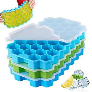 Spightdex Ice Cube Trays, Ice Tray with Lids Removable & Anti-overflow, 3 Pack, Silicone Ice Cube Tray Easy-Release, BPA Free, Flexible Ice Molds for Whiskey Cocktail Freezer Chilled Drinks
