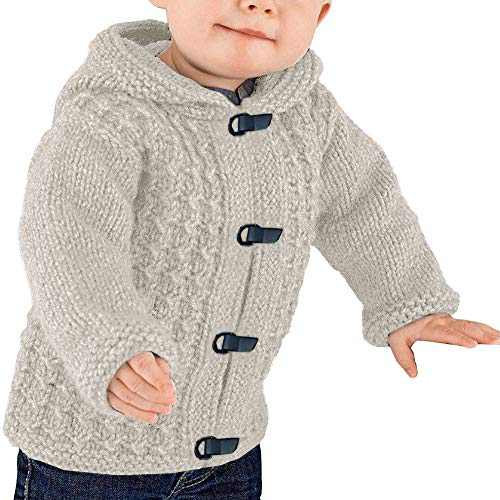 Makkrom Kids Baby Boys Girls Knit Hooded Cardigan Sweater Cable Button Up Winter Warm Toddler Outwear Beige