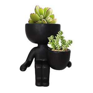 Ceramic Succulent Plant Pot Creative Human Shaped Small Cactus pots Flower Pots Mini Plant Planters for Desktop Usage Home Decoration(Black A)