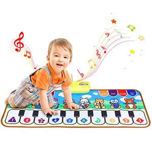 JURSTON Piano Mat, Kids Electronic Musical Keyboard Mat Touch Play Blanket with 8 Instrument Sounds, Early Learning Education Toy for 3+ Year Old Girls Boys Birthday Gifts for Toddler Baby