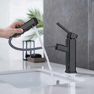 Bathroom Sink Faucet Bathroom Faucet with Sprayer Single Handle with Pull Out Sprayer Water Flow Modes Basin Mixer Tap for Hot and Cold Water Lavatory Pull Down Vessel with Rotating Spout (Black)