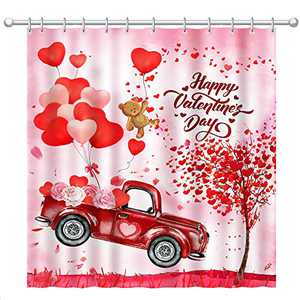Hexagram Red Truck Valentines Day Shower Curtain,Heart Balloon with Teddy Bear Bathroom Shower Curtain Set with Hooks for Bathroom Decoration 60x72 Inch