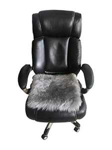 Genuine Sheepskin Long Wool Cushion, Sheepskin Car Seat Covers, Auto Seat Pad, Fuzzy Car Seat Cover, Office Chair Cushion, Fluffy Wool Seat Cover, Soft Warm Winter Sheepskin Seat Cushion (Gray)