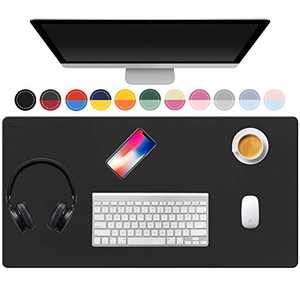 """TOWWI Dual Sided Desk Pad, 32"""" x 16"""" PU Leather Desk Mat, Waterproof Desk Blotter Protector Mouse Pad (Black/Red)"""