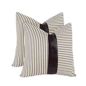 cygnus Set of 2 Farmhouse Decorative Throw Pillow Covers 18x18 Inch Stripe Stitching Black Faux Leather Accent Cushion Covers,Gray