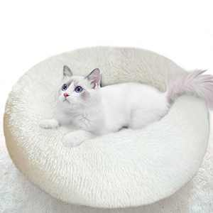 """Cat Bed for Indoor Cats Clearance, 20"""" Round Donut Cuddler Dog Bed for Small Dog and Cat Fluffy Pet Sofa Cushion for Snuggle Puppy Washable Self-Warming Soft Plush Marshmallow Dog Cat Bed 50CM White"""