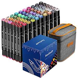 60 Colours Graphic Marker Pens Set , EooUooIP️ Permanent Art Marker Pens Drawing Pens for Artists with Dual Tips, Perfect for Colouring, Highlighting and Anime and Manga Design