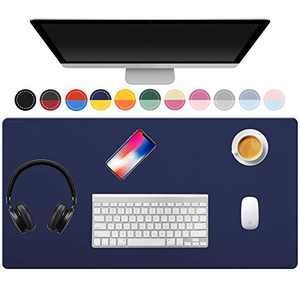 """TOWWI Dual Sided Desk Pad, 36"""" x 17"""" PU Leather Desk Mat, Waterproof Desk Blotter Protector Mouse Pad (Dark Blue/Yellow)"""