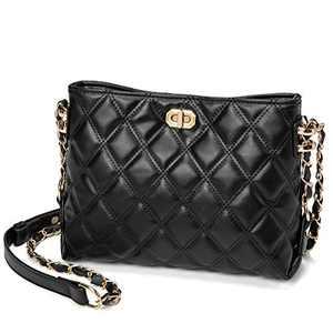 Crossbody Bags for Women Medium Size Leather Cute Crossbody Purse Shoulder Bag with Adjustable Gold Chain Strap(Medium Black)
