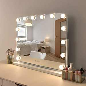 """COOLJEEN Large Hollywood Makeup Mirror with 3 Color Lights 360°Rotation Rounded Corners Vanity Mirror with 14 LED Dimmable Bulbs Tabletop or Wall Mounted (29"""",no Bluetooth)"""