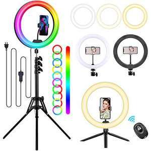 12'' RGB Selfie Ring Light with Tripod Stand & Phone Holder, ALLYAG Circle Light with 18 Light Modes & 12 Brightness Level & Wireless Remote Shutter for Live Stream/Instagram/YouTube Video/TikTok