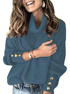 Margrine Women's Oversized Turtleneck Chunky Pullover Sweaters Cowl Neck Long Sleeve Winter Slouchy Loose Knit Sweaters Blue M2A78-dianlan-M