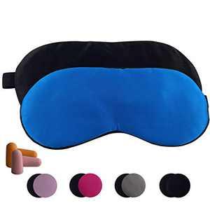 2 Pcs Natural Silk Sleep Mask, Blindfold, Super Smooth Man Women Eye Mask for Sleeping (Black+Blue)