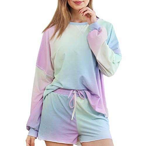 Womens Tie Dye Printed Short Lounge Set Off The Shoulder Shirt for Women Girls Long Sleeve Tops and Shorts 2 Piece Pajamas Set Sleepwear-Rainbow-L