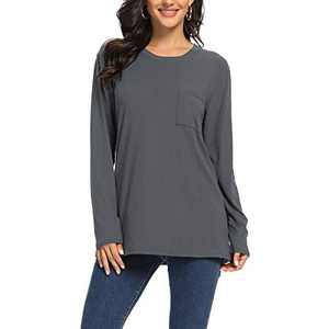 Womens Long Sleeve Shirts for Women - Crewneck Loose Casual Tunic Tops with Pocket for Leggings Dark Grey