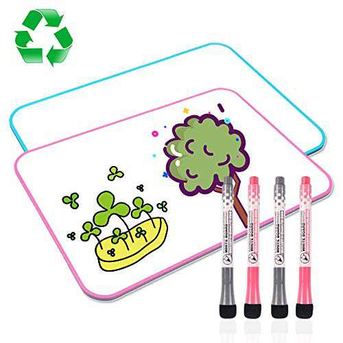 White Board for Kids, XYZCREAT Dry Erase Board Double Sided 11.8 x 8.3 Inches 2 Pack, Small Whiteboard Lapboard, Small White Board for Kids Students School Home Office