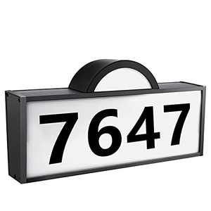 [Upgraded]Rottogoon Solar Powered Address Numbers Signs, White/Warm Light Illuminated House Numbers Plaque, IP65 Waterproof LED Lighted Outdoor Solar Address Sign for Home Yard Garden Street Mail Box