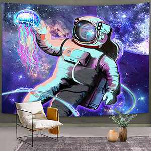 """Bonsai Tree Spaceman Tapestry, Cool Space Wall Hanging Trippy Tie Dye, Outer Astronaut Jellyfish Planet Abstract Wall Decor for Bedroom College Home Decorations, 59""""x83"""""""