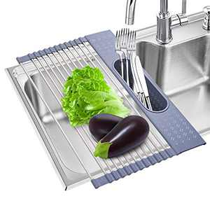 LITPRIN Rolling Sink Rack,17.3''x11'' Stainless Steel Over Sink Dish Drying Rack,Versatile Roll Up Sink Drying Rack Foldable Stainless Steel Dish Drainer for Kitchen Sink(Gray)