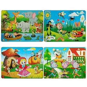Puzzles for Kids Ages 4-8, 4 Pack 60 Pieces Wooden Jigsaw Puzzles Preschool Educational Learning Toys Set for Boys and Girls