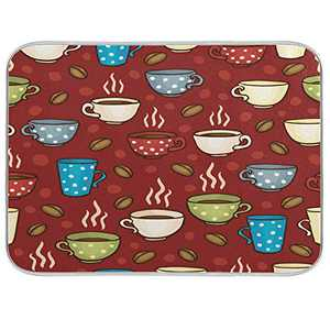 Dish Drying Mat for Kitchen Counter Absorbent Reversible Microfiber Sink Mats Large Coffee Cups 18x24 inch