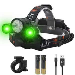 BORUIT LED Headlamp Green White Light Rechargeable Super Bright 5000 Lumens Head Lamp 3 Mode Waterproof Head Light for Adult Hunting Fishing Camping Headlight Gear