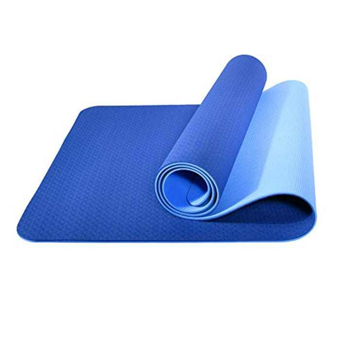 L LONGANCHANG Yoga Mat, TPE Eco Friendly Gym Mat Non Slip Classic Pro Fitness Mat, Exercise Mat for Home Pilates and Gymnastics Women Men, with Carry Strap Bag and Towel, 183 x 61 x 0.6CM