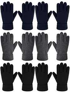6 Pairs Kids Winter Fleece Gloves Warm Full Finger Gloves for Boys Girls (8-12 Years)