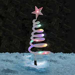 Spiral Solar Path Stake Lights -Landscape Path Lights Pathway Garden Lights Festive Xmas Decoration (Multi Coloured 4 Pack)