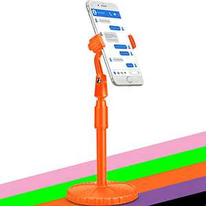 Cell Phone Stand Phone Holder Tripod Mount Phone Clamp Clip Cradle Dock Phone Tripod Stand for Desk for Bed Compatible with Phone 12 Mini 11 Pro Xs Xs Max Xr X 8 7 6 6s Plus. (Orange)