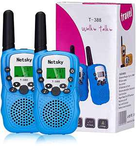 Netsky Walkie Talkies for Kids,Amazing Kids Walkie Talkies Toys, 3 KMs Long Range with Backlit LCD Flashlight Gift for 3-12 Year Old to Outside Adventure, Camping, Hiking(2 Pack)
