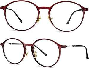 ELEBOOT Blue Light Blocking Glasses Women/Men/Teens,Anti Blue Blocker Filter Gaming Glasses for Computer Eye Strain,Lightweight Retro Round TR90 Frame (Red-1)