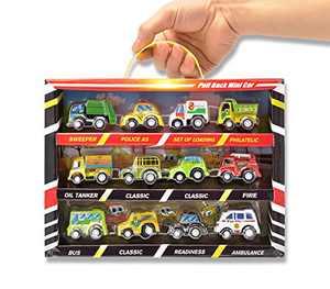 12 PCS Assorted Pull Back Mini Vehicle Cars Toy Plastic Vehicle Toys Set Educational Preschool Party Favors Birthday Christmas Kits Play Car Set for 12+ Boys Girls