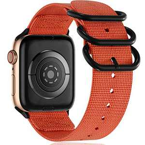 Muranne Nylon Bands Compatible for Apple Watch 38mm 40mm iWatch SE Series 6 5 4 3 2 1, Adjustable Breathable Woven Nylon Watchbands Accessories Military Loop Buckle for Women Men, Orange, Medium