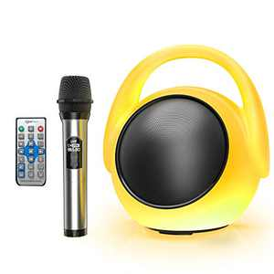 Karaoke Machine, FWFX Karaoke Machine Speaker with Wireless Microphone, Portable Handheld Karaoke Mic Speaker Machine with Colorful Lights for All Smartphone, Outdoor Party, Home Party Birthday