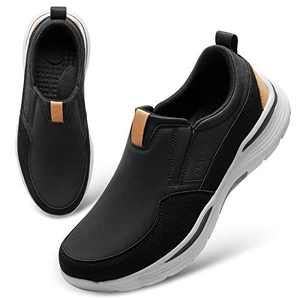FEETCITY Mens Slip-On Walking Shoes Comfort Slip-On Loafer Casual Driving Sneakers Size 7 Black