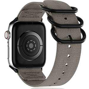 Muranne Compatible with Apple Watch Band 38mm 40mm, Classy Lightweight Washable Woven Nylon Strap with Military-Style Loop Adapters for iWatch SE Series 6 5 4 3 2 1 for Women Men, Gray, X-Large
