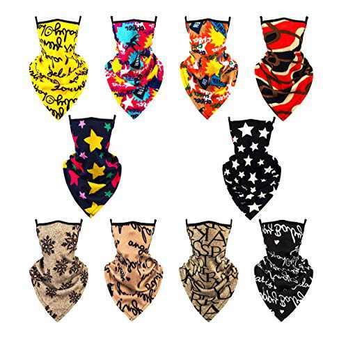 SHUNMEILO 10PCS Men Women Masks Washable Mask Scarf for Women Gaiter Ear Loops Bandana for Women