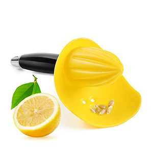 VANANSA Lemon Squeezer with Seed Catcher, 3 in 1 Citrus Tool - Lemon Zester, Channel Knife, Citrus Reamer, Grater with Soft-Touch Grip