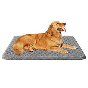Large Dog Bed Crate Pad Mat 39in Washable Pet Beds Anti Slip Dog Sleeping Mattress with Removable Cover Sliver Grey, L