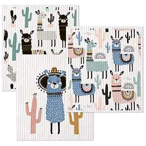 Swedish Dishcloths for Kitchen Reusable Cleaning Cloth Absorbent Cellulose Sponge Llama Pattern 3 Pack